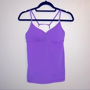 Lululemon purple v neck strappy back tank top